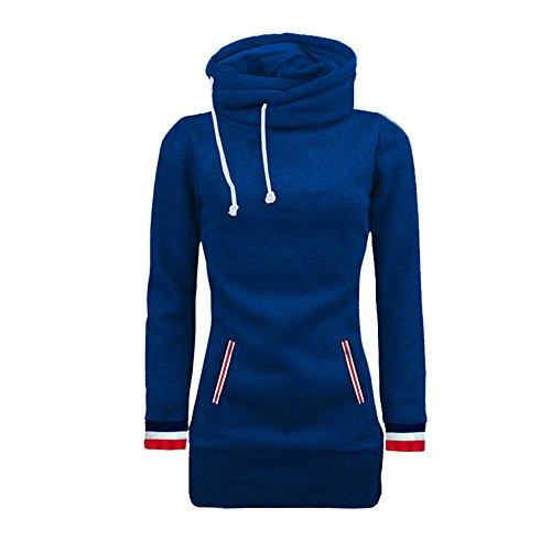 VECDY Damen Pullover,Räumungsverkauf- Herbst Frauen Langarm Hoodie Sweatshirt Pullover mit Kapuze Baumwollmantel Pullover Lässige hohe Kragen warmen Pullover Hoodie (40, T-Blau-B)