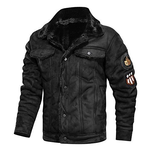 N / A Herren Lederjacke, warme Wollkragen Dicke Lederjacke Herren Motorradjacke Fliegerjacke mit Mehrere Taschen für Herbst Winter (Schwarz, L)