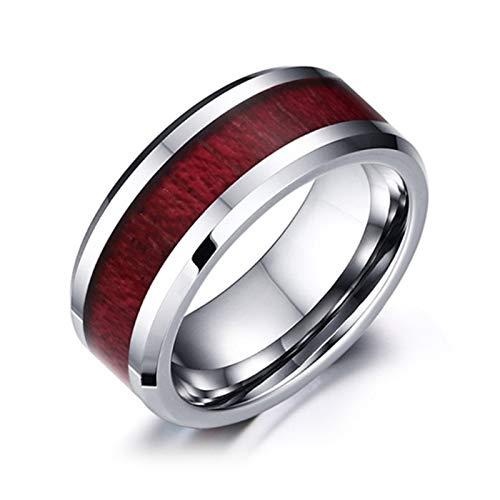 Dunmo Anillo de pareja de madera grano en forma de corazón anillo durable lindo moda para hombres mujeres pareja
