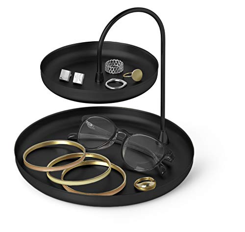 Umbra Poise Large, Double, Attractive Storage You Can Leave Out, Two-Tiered Jewelry Tray, Black