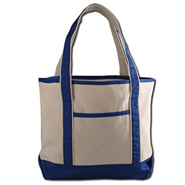 Large Size Heavy Canvas Deluxe Tote Bag, Front Pocket, Ideal for shopping groceries, beach, pool, daily use (1, ROYAL)