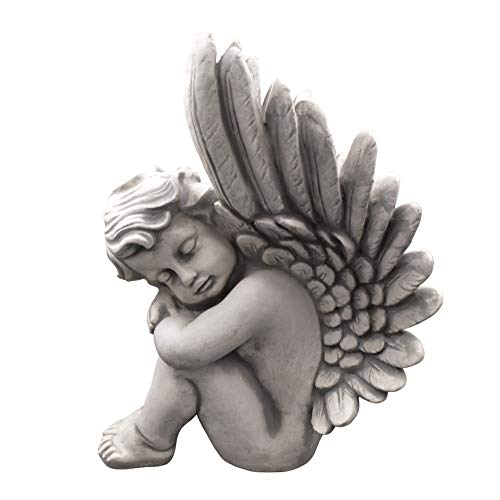 gartendekoparadies.de Große Massive Steinfigur Engel Raumdeko Grabdeko aus Steinguss
