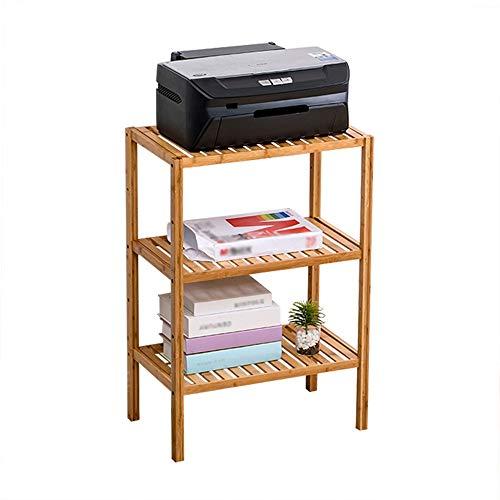 Bambú Soporte De Impresora Estante De La Oficina Estante para Beber De La Sala De Estar Estante De Exhibición De 2 Niveles Mesita De Noche Mesa Lateral Diseño De Pata Cuadrada Fácil De Montar AA~