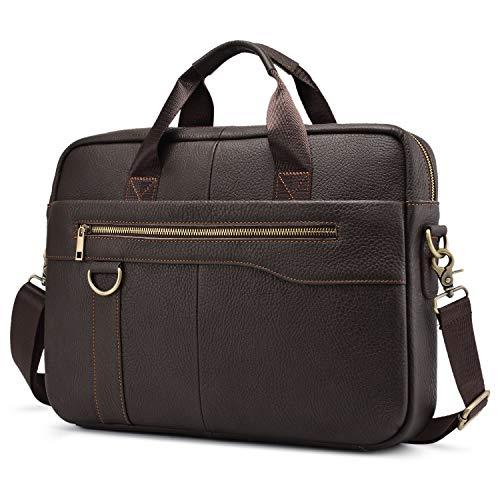Leder Aktentasche Herren Businesstasche Männer Handtasche Vintage Laptoptasche 14 Zoll Notebook Schultertasche Umhängetasche Arbeitstasche - Kaffee Braun