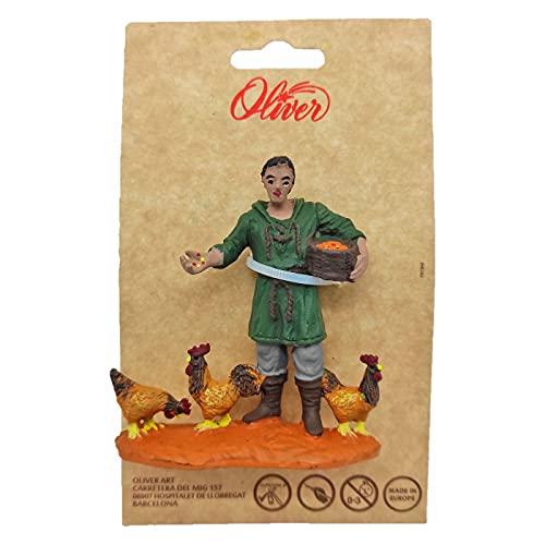 Oliver Art - Figura de Granjero con gallinas para belén navideño 8,5 x 8 cm, durexina, Figura Decorativa Nacimiento, Pesebre, Navidad, decoración Tradicional