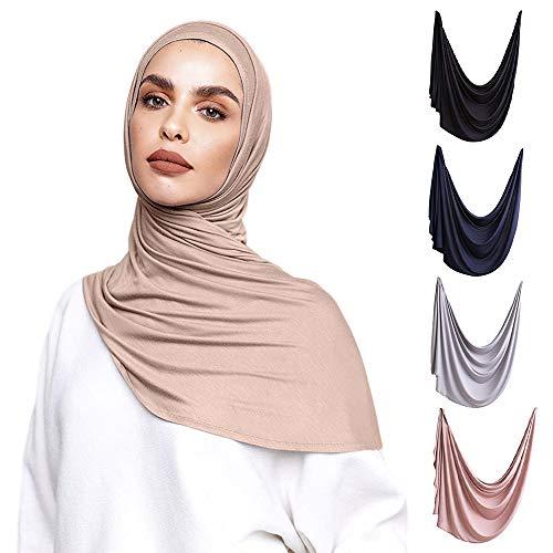 Voile Chic 5 Colors Presewn Instant Premium Jersey Head Scarf Wrap - Vanilla