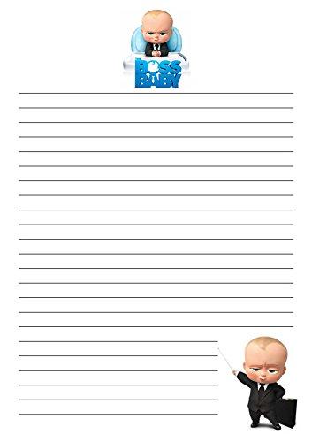 25 A5 The Boss bébé Motif/d'écriture sur le thème des petits Établissements papier – étroit doublé papeterie