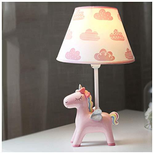 Lámparas de escritorio Habitación de los niños Unicornio de dibujos animados Lámpara de mesa Dormitorio Lámpara de noche Creativa Cálida Romántica Linda niña Niño Decoración Lámpara de mesa peque