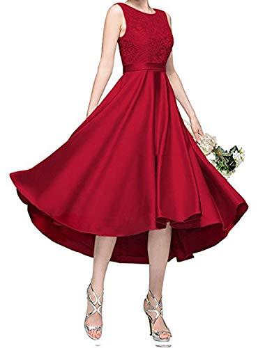 Hi Lo ZY189 - Vestido largo de fiesta para jóvenes con encaje, vestido formal para graduación -  Rojo -  44