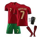 YHJA Maillot de Football, 2021 Portugal Home No. 7 Maillot C.r.i.s.t.i.a.no R.o.n.a.l.d.o avec Uniforme de Football pour Adultes avec équipement de Protection et Chaussettes,Rouge,M