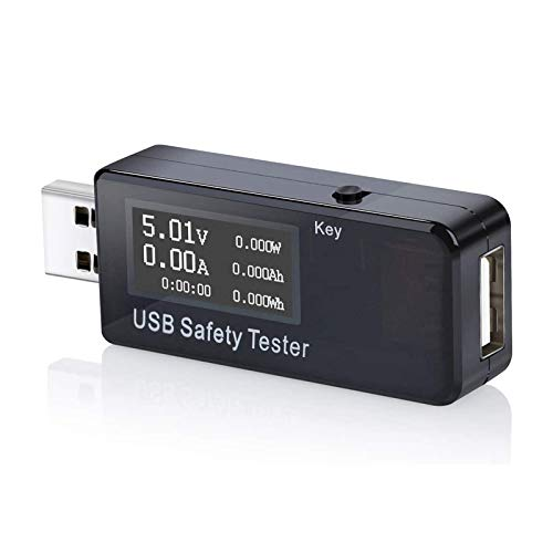 USB Digital Power Meter Tester,Tiancai Safety Tester Multimeter Current and Voltage Monitor, DC 5.1A 30V Amp Voltage Power Meter, Test Speed of Chargers, Cables, Capacity of Power Banks-Black