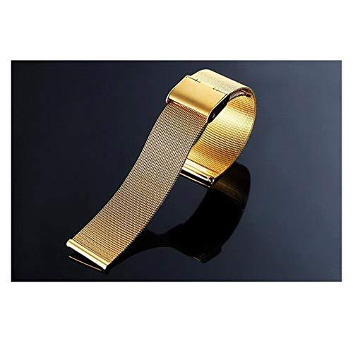 HUIJUNWENTI Banda de Reloj Reloj Universal 12 14 16 18 20 mm 22mm 24mm Silver Silver Steel Strap Band Band Pulsera de reemplazo para Reloj Inteligente (Color : Oro, Talla : 18mm)