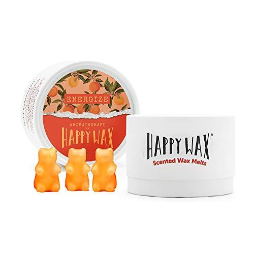 Happy Wax – Cera de aromaterapia derretida con cítricos energizantes, cera de soja se derrite con aceites esenciales (energizar)