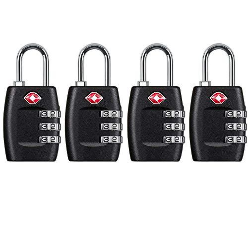 TSA-Schloss, 4 Stück, TSA-genehmigtes Gepäckschloss, 3-stelliges Zahlen-Vorhängeschloss für Reisekoffer schwarz