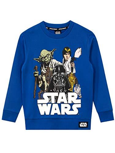 Star Wars Felpe per Ragazzi Guerre Stellari Blu 5-6 Anni