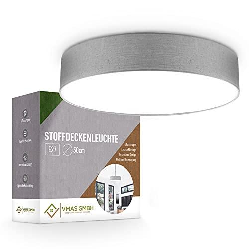 VMAS – Premium Deckenlampe / Deckenleuchte Schlafzimmer 50cm Ø [5W] – Stoffdeckenleuchte mit 4xE27 Fassung & Textilschirm – Stoffschirm in grau