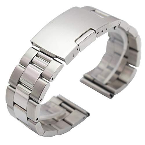 ZZDH Correas Relojes Acero Inoxidable Pulsera de la Banda de Reloj de Metal Negro de Plata 18 mm 20 mm 22 mm 24 mm Strap de Hombres 316L Sólido Acero Inoxidable Reloj de Extremo Recto