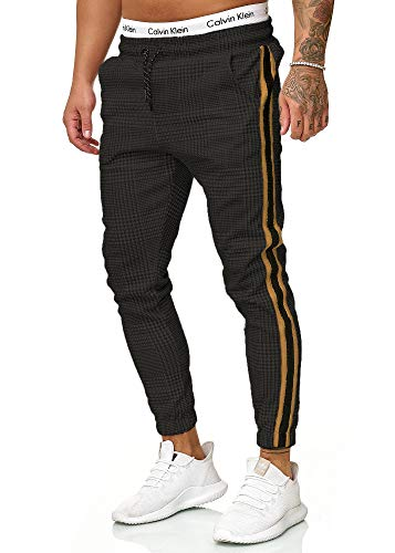 OneRedox Herren | Jogginghose | Trainingshose | Sport Fitness | Gym | Training | Slim Fit | Sweatpants Streifen | Jogging-Hose | Stripe Pants Modell 1226 Schwarz Gold XXL