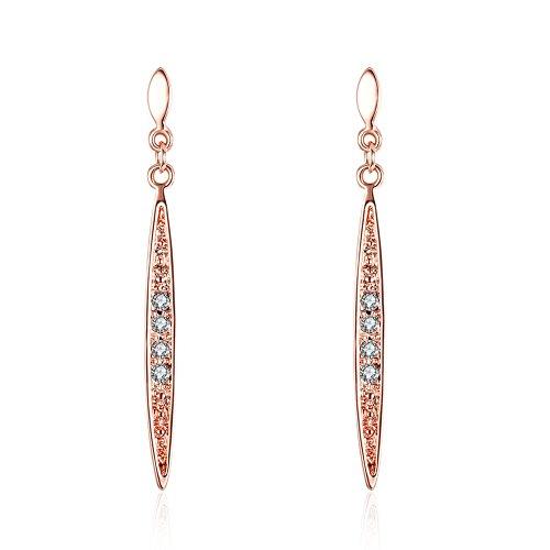 Styleziel oorbel oorstekers staafjes met kristallen goud roodgoud 40 mm 2232