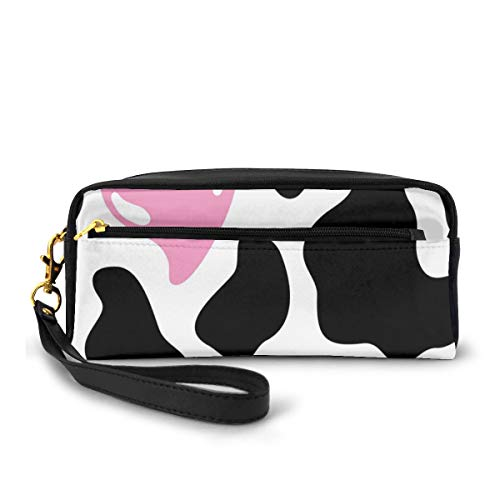 Pencil Case Pen Bag Pouch Stationary,Camouflage Hide Pattern in Black and White with Cute Pink Heart Shape Moo,Small Makeup Bag Coin Purse