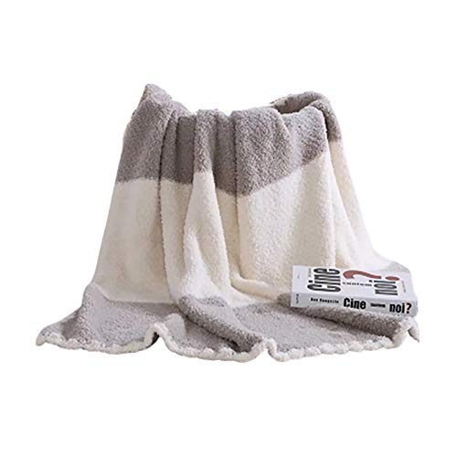 Patchwork Knit Blanket Throw, Tippet Queen King Size Blanket Air Conditioning All Season Use for Couch Bed Travel Nap Man Woman Baby Coral Fleece 51'x63',Gray