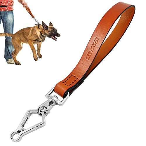 PET ARTIST Short Leather Dog Leash for Large Medium Dogs, No Pull Training Traffic Leads for German Shepherd Pitbull Bulldog Great Dane Walking Control, Brown 3/4'' x 14'' Length