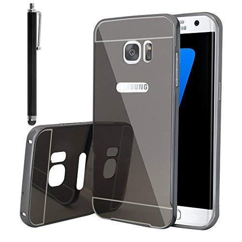 VCOMP ® hoes Bumper aluminium metaal 2 in 1 deksel spiegel achter en Cardre Régide voor Samsung Galaxy S7 Edge G935F/G935FD/S7 Edge (Cdma) G935, Space Gray + stylus