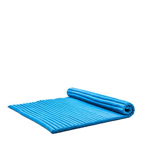Leewadee Rollbare XXL Thai Matte, 200x150x5 cm, Extrabreite Gästematratze Yogamatte Massagematte Ökologisches Naturprodukt, Kapok, hellblau