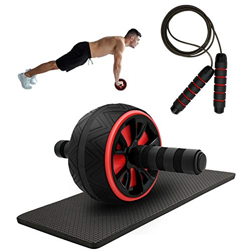 HERFUNNER Ab Roller for Core Workout Ab Wheel Abdominal Exercise Equipment with Knee Pad Jump Rope for Home Office Gym Training