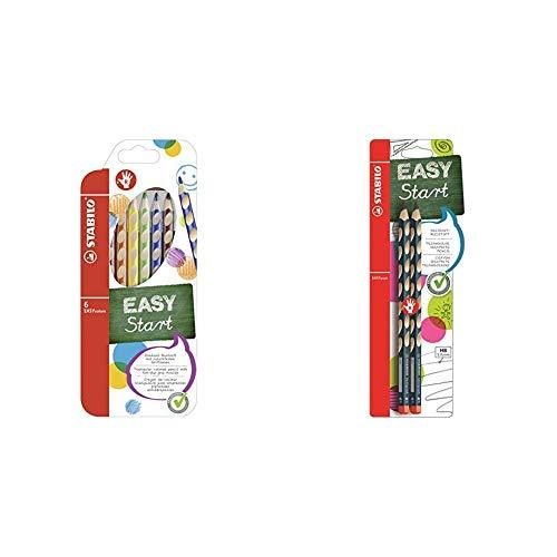 Ergonomischer Buntstift für Rechtshänder - STABILO EASYcolors - 6er Pack - mit 6 verschiedenen Farben & Dreikant-Bleistift für Rechtshänder - STABILO EASYgraph in petrol - Härtegrad HB - 2er Pack