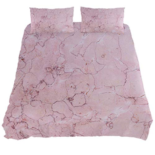 Audrey Brown Poly Cotton Sheet & Pillowcase Sets Duvet Protector Summer Duvet Cover Bed All-season Duvet Cover Pink marble Single