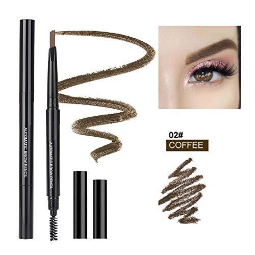 Crayons et maquillage pour sourcils avec brosse triangulaire stylo à tête double rétractable rétractable imperméable et durable(café)