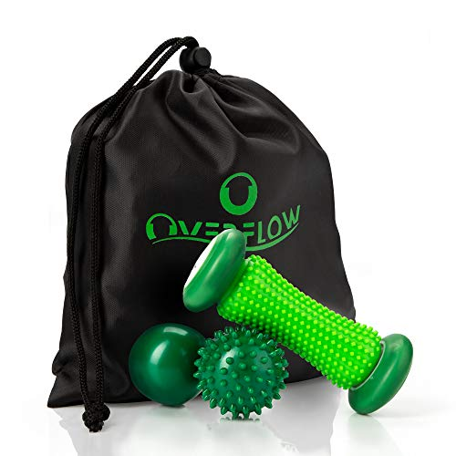 OVERFLOW Igelball Fussmassage Set - Massageball und Fußmassageroller gegen Plantarfasziitis - Faszienball, Kleine Faszienrolle, Massagebälle, Fußrolle