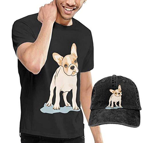 Camiseta de Manga Corta con Cuello Redondo para Hombres de Bulldog francés y...