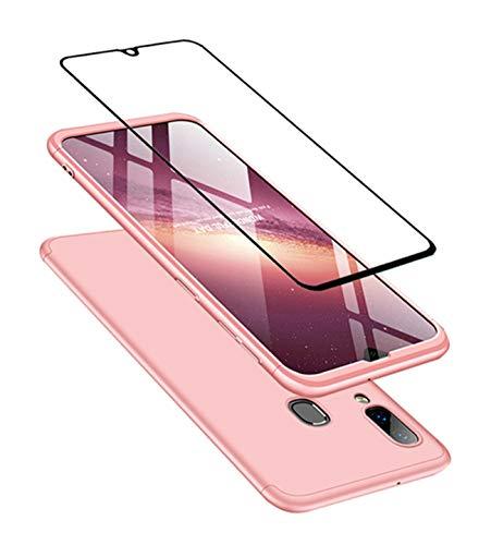 JOYTAG Cover Compatibile Samsung A40, Custodia + vetro temperato Protezione a 360°PC hard case-Oro rosa
