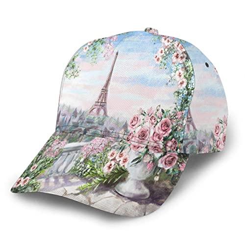 739 Gorras De Sol Paisaje De La Ciudad De Parisfloral Rose Flower Leaf Torre Eiffel Francia Sombrero De Visera Ajustable Sombrero Algodón Visera Sombrero para Hombres, Golf