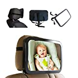 AISIBO Baby Car Mirror for Back Seat Rear Facing, Infant Child Mirror for Car Seat with Wide Clear View - Adjustable Acrylic 360 Safety Shatterproof Rearview Mirror with Cleaning Cloth