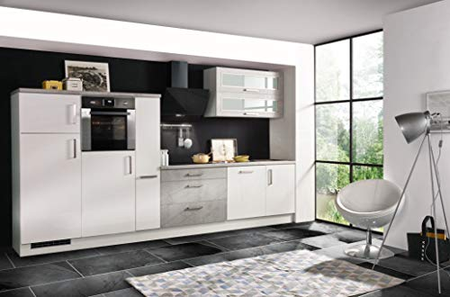 respekta Bloc de cuisine encastrable blanc brillant béton 350 cm