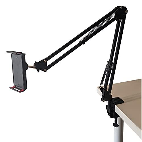 Foxivis - Soporte para tablet y teléfono con brazo metálico ajustable | Rotación 360° | trípode estabilizador compatible con iPad iPhone Series/Samsung Tab S9 S8 S7/Mediapad/Kindle y Plus
