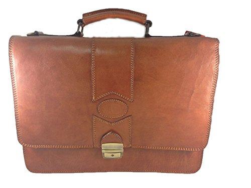 YOJAN PIEL | Maletin Porta Documentos de Cuero Fabricado Artesanalmente en Ubrique, en Piel (Marrón) | Complementos de Hombre Para el Trabajo de Estilo Atemporal y Elegante | Regalos Exclusivo