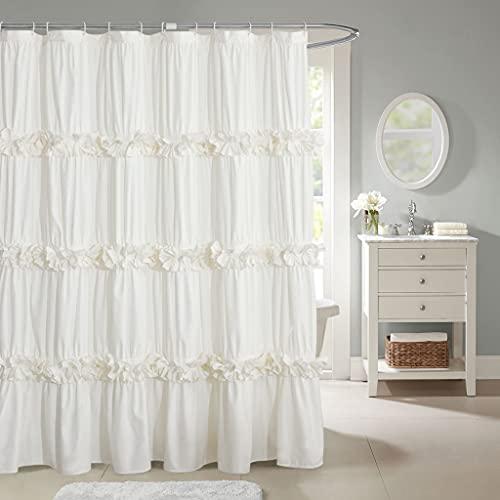 "HIG Ruffled Farmhouse Shower Curtain, Ivory Frilly Feminine Bathroom Curtain with 3 Rows of Handmade Butterfly Flowers, Elegant Cloth Bath Curtain for Bathroom Decor, 72"" x 72"", Microfiber (Westbury)"