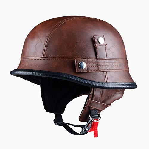 LUNANA Leder Halbschale Jet-Helm, Motorrad Halbhelm, Leder-Helm mit Retro Vintage Style, ABS-Materialkoffer (55~64cm)