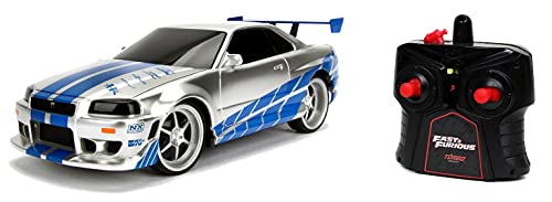 Jada Toys Fast & Furious RC Nissan Skyline GTR, R34, Turbofunktion, RC Auto, Ferngesteuertes Auto mit Fernbedienung, vorwärts-rückwärts, Links-rechts, Maßstab 1:24, blau/Silber