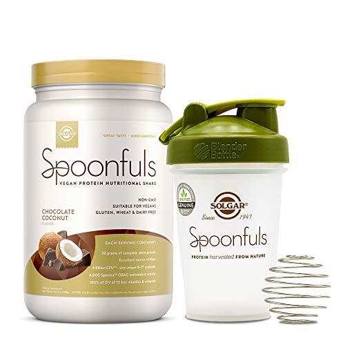 Solgar Spoonfuls Vegan Protein Powder w/Blender Bottle - Chocolate Coconut Flavor, 14 Servings - Nutritional Shake w/Probiotics, Digestive Enzymes - Non GMO, Gluten, Dairy Free - 3 Scoop Serving
