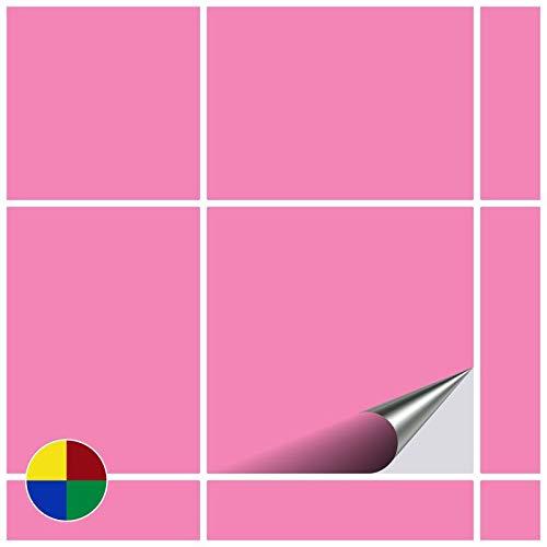 FoLIESEN Adesivi per Piastrelle per Bagno e Cucina–10x 10cm–Rosa Chiaro Lucido–160Adesivi per Piastrelle per Muro di Piastrelle
