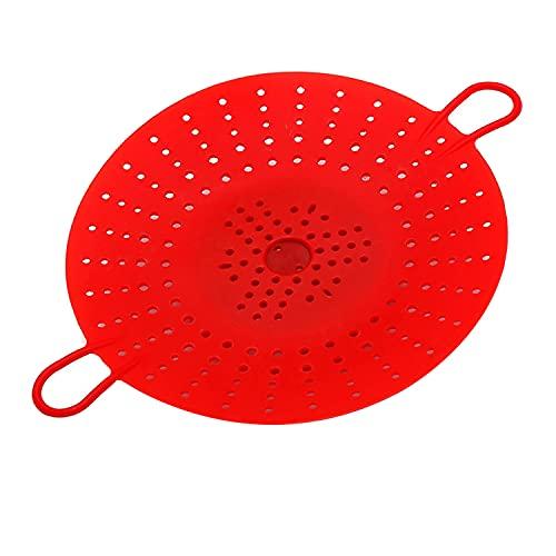 Kuinayouyi 2 piezas de vapor de silicona, cesta de vapor de verduras para ollas a presión, microondas, multicocina, rojo