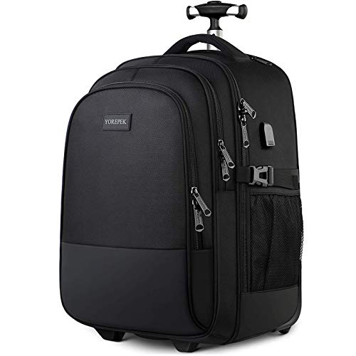 Backpack with Wheels  Large Rolling Backpack for Men Women  Water Resistant Business Travel Carry on Wheeled Backpack Bag  Durable Roller College School Computer Bookbag Fits 15.6 Inch Laptop  Black
