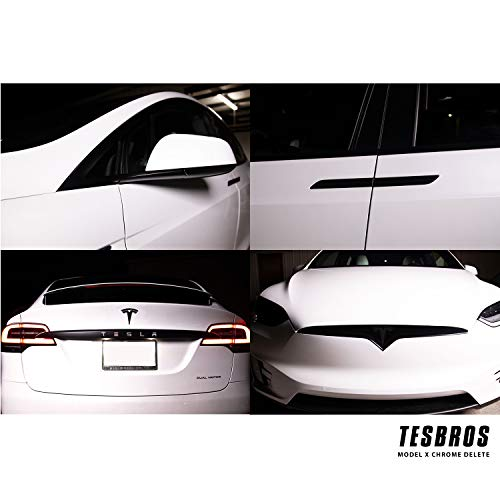 TESBROS Model X Complete Chrome Delete Kit - Comes with 2 Full Black Out Kits - Tesla Model X Accessories Made from 3m Automotive Vinyl | Matte Black
