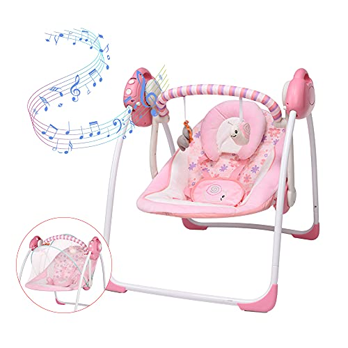 Soothing Portable Swing, Electric Baby Swing with Intelligent Music Vibration Box, Comfort Rocking Chair Load Resistance: 55lb, Applicable Object: 0-36 Months for Infants