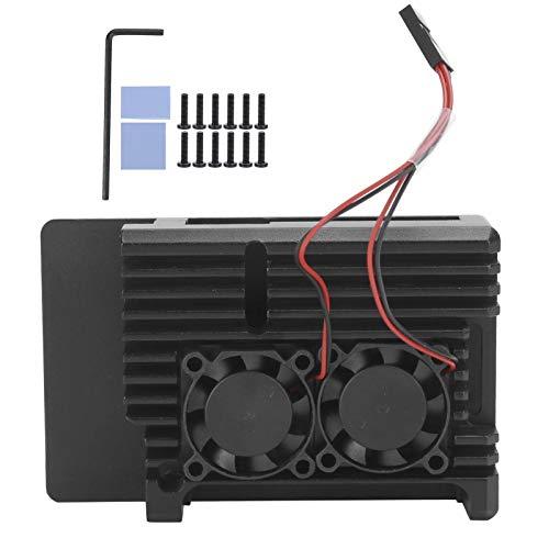 CHENGGONG Lüftergehäuse, Hartmetall-Kühlkörper Wärmeableitung Kühlgehäuse, Aluminiumlegierung für Computer-Desktop(Double Fan Aluminum Alloy Shell)